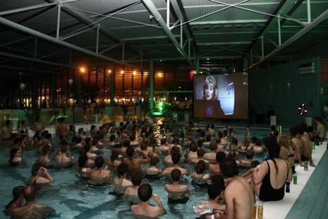 Guests attended a swim-in cinema screening of Back To The Future